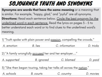 Synonyms and Antonyms Worksheets with Synonyms and Antonyms Passage & Song