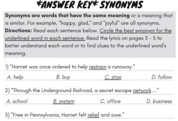 Synonyms & Antonyms Worksheets with Synonyms & Antonyms Passage & Rap Song