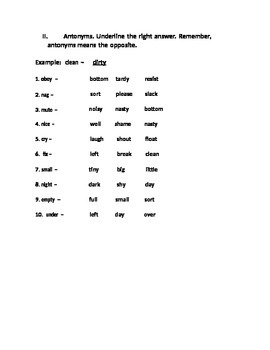 Synonyms and Antonyms for 4th Grade