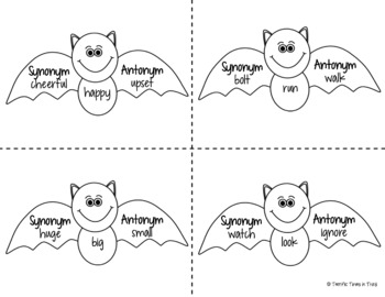 Halloween Synonyms and Antonyms with Bats