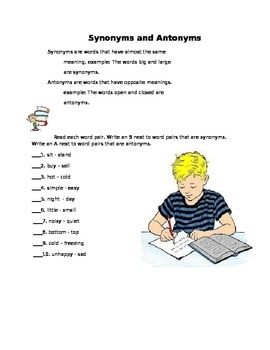 Synonyms and Antonyms workbook fro 2nd grade