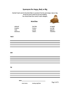 Synonyms | Word Classification | WORD WALRUS | Vocabulary | Gr. 4-5-6 CORE