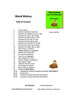 Synonyms   Word Classification   WORD WALRUS   Vocabulary   Gr. 4-5-6 CORE