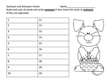 Synonyms and Antonyms--Task Cards and Worksheets--Easter Themed