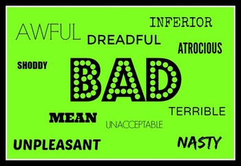 Synonyms classroom display; including said, like,big,little,scared,bad,happy,
