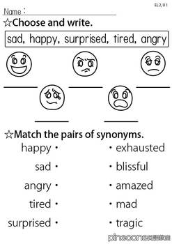 EL2, U1 Synonyms (feelings)