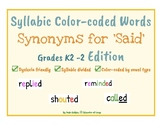Synonyms for Said Gr K2-2 Edition: Dyslexia ~ Phonetic Wor