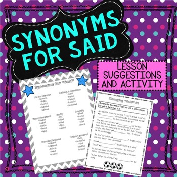 Synonyms for Said Lesson Idea and Activities
