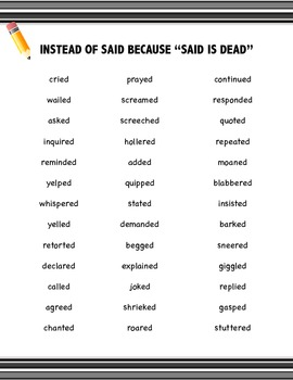 Synonyms for SAID: Writing Resource FREEBIE