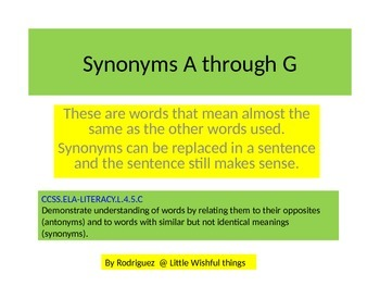 Synonyms from A to G