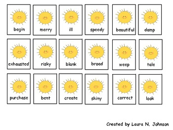 Synonyms in the Sun Freebie!