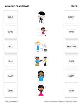 Synonym Matching Adjectives By Mrnerdson Teachers Pay Teachers