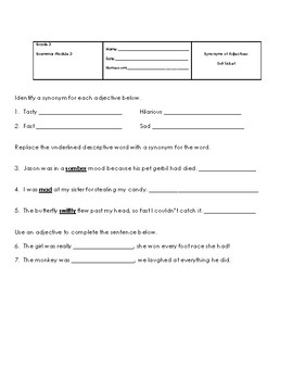 Synonyms of Describing Words Worksheets