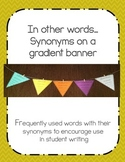 Synonyms on a gradient banner