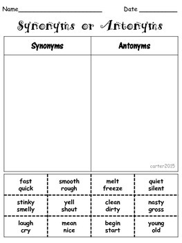 Synonyms or Antonyms Sort