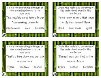 Synonyms or Antonyms Taskcards