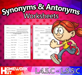 Distance Learning - Synonyms or Antonyms Worksheets