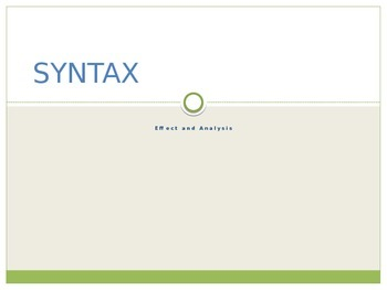 Syntax Analysis Presentation and Practice