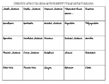 Syntax Practice Chart