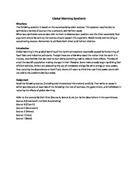 Synthesis Essay: Global Warming
