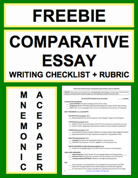 Comparative Essay Writing Checklist Guide & Rubric FREE