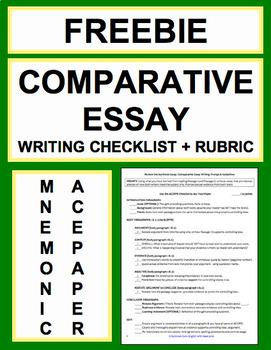 Comparative Essay Writing Checklist Guide  Rubric Free  Tpt Comparative Essay Writing Checklist Guide  Rubric Free Essay Paper Writing also Argumentative Essay High School  Essay Science