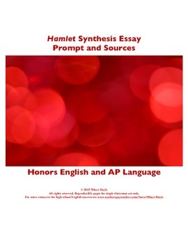 Ap Lang Argument Teaching Resources  Teachers Pay Teachers Synthesis Prompt For Hamlet Synthesis Prompt For Hamlet