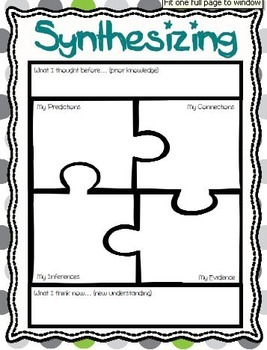 Synthesizing Package - Reading Comprehension Strategy Resources