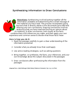 Synthesizing information to Draw Conclusions Worksheet