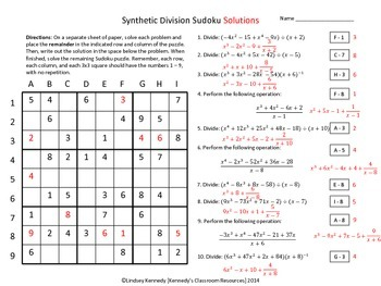 Synthetic Division - Sudoku by Kennedy\'s Classroom Resources | TpT