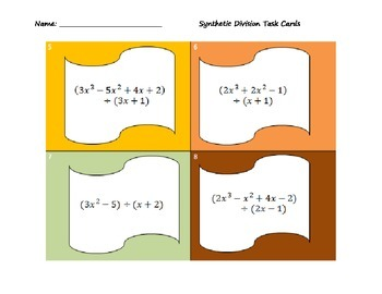 Synthetic Division Task Cards