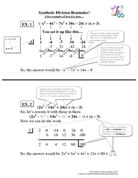 Synthetic Division Worksheet #2 by Family 2 Family Learning Resources