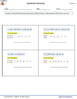 Synthetic Division Worksheet by Algebra and More   TpT