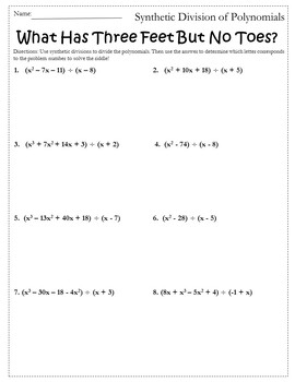 Synthetic Division Worksheet Activity {Dividing Polynomials Activity}