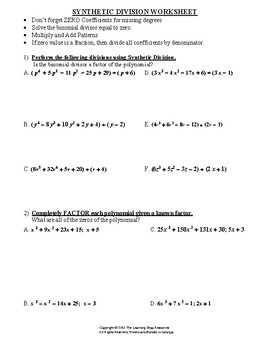 Synthetic Division of Polynomials - Practice Worksheet by