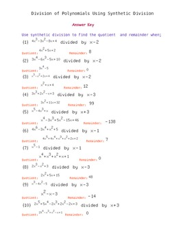Synthetic Division of Polyn... by Easy Math | Teachers Pay Teachers