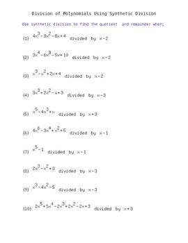 Synthetic Division of Polynomials- Worksheet... by Easy Math ...