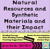 Natural Resources and Synthetic Materials Passage Lab and Worksheets MS-PS1-3