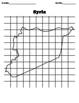 Syria Coordinate Grid Map Blank