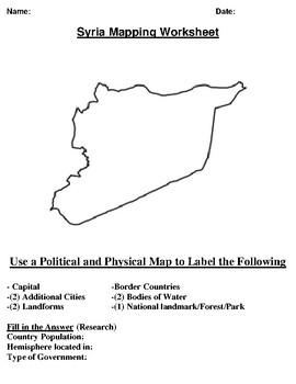 Syria Mapping Worksheet w/ Middle East Word Search