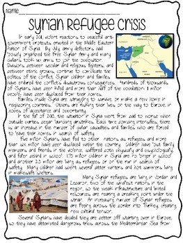 Syrian Refugee Crisis Reading Comprehension, Current Events, ISIS, DBQ