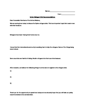 Syrian Refugee Recommendation Letter