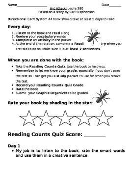 System 44 Ant Attack Book Log