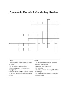 System 44 NG Module 2 Vocabulary Crossword Puzzle