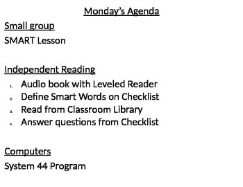 System 44 Weekly Agenda