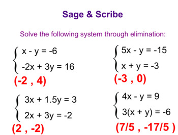 System Of Equations - Elimination Method
