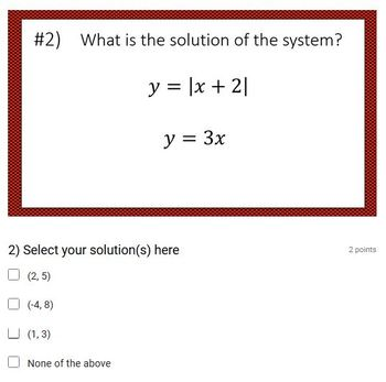 System of Absolute Value & Linear Equations (Google Form &  Video Lesson!)