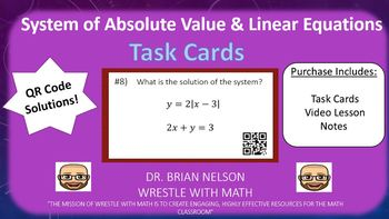 System of Absolute Value & Linear Equations - Task Cards &  Video Lesson