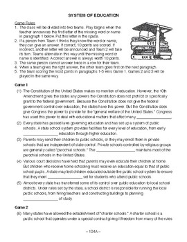 System of Education, AMERICAN GOVERNMENT LESSON 104 of 105, Fun Class Game+Quiz