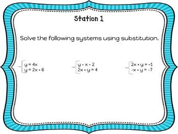 System of Equation Review Stations